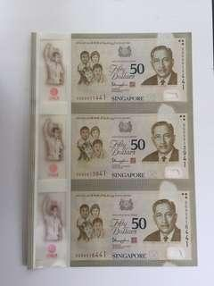 Singapore 2015 SG50 3-in-1 uncut $50 note
