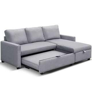 Three seater L shaped sofa with gas lift storage