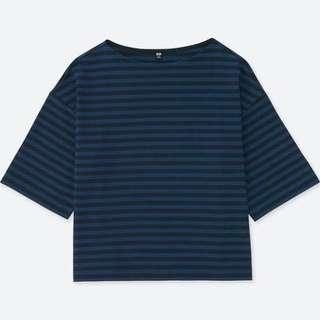 UNIQLO Striped Wide 3/4 Sleeve T-Shirt