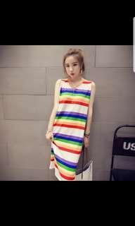 Rainbow stripes midi dress