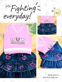 Set 1 - Sweater Vest Knit + Rok Jeans #rokjeansanak#skirt#bajuanak#setmurah#ibuhebat