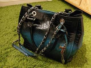 100% Cobo blu Genius Crocodile Leather Bag