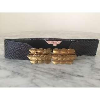 Lisa Ho Faux Snake Skin, Gold Leaf Buckle, Thick Belt, Size 1