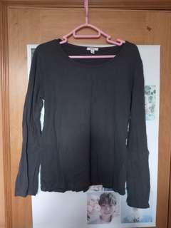 清貨 減價 bossini L碼 大碼 女裝灰色淨色長袖上衣 簡單 簡約 日常 返工 運動 易襯