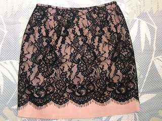 Pink Black Lace Skirt