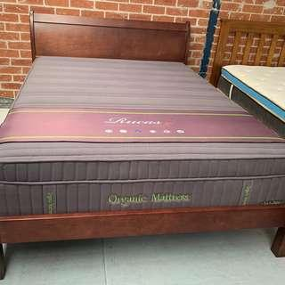 Brown wood sleigh bed frame affordable cheap prices