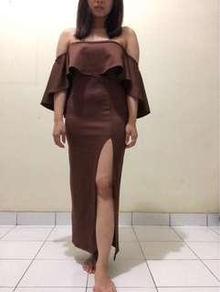 Slit brown dress