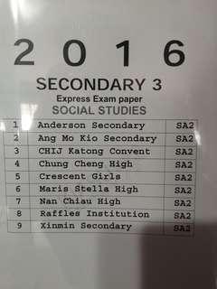 Secondary 3 express social studies paper