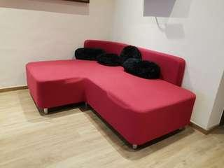 Hot Pink L shape Sofa