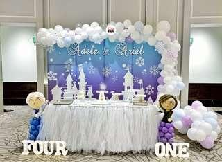 🚚 Frozen | Elsa | Baby Full Month | 100 days | 1 year old | Party Ideas | Themed Styling | Props Rental | Dessert Table | Feature Wall