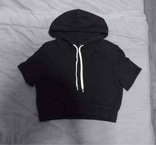 Black Cropped Hoodie Short Sleeved