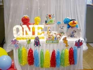 🚚 Sesame Street | Baby Full Month | 100 days | 1 year old | Party Ideas | Themed Styling | Props Rental | Dessert Table | Feature Wall