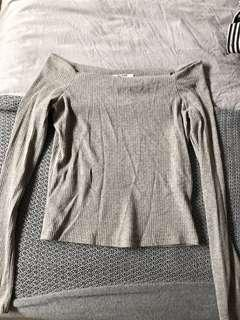 Zara Grey Off Shoulder Top