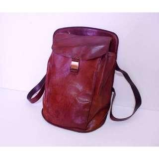 全真皮/駱駝皮 訂製款 只有一件 復古 古著 酒紅色大後背包