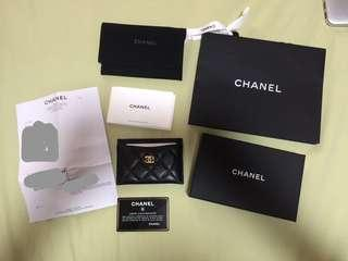 Authentic chanel card holder SLG mini wallet caviar black gold hardware ghw
