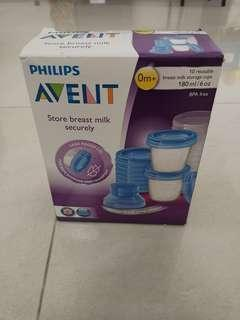 #STB50 Avent Milk Storage cups - 9pcs new