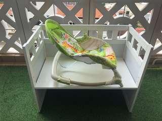 Baby Adjustable Side Cot & Fisherprice Rocker