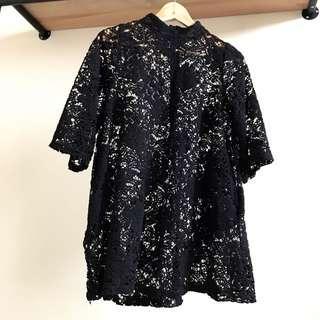正韓 韓貨 韓製 蕾絲 透膚 鏤空 小洋裝 長版上衣 氣質