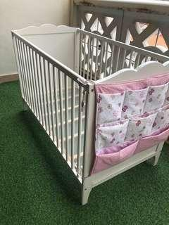 IKEA Cot Hensvik White (2 Heights) with Bumper & Organiser