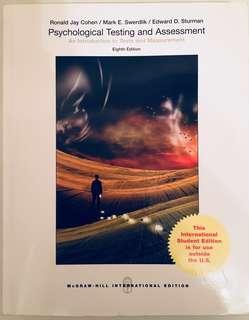 Psychological Testing & Assessment 8th ed. by Cohen et al 90% new