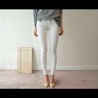 Zara 高腰 彈性 牛仔褲 白色長褲