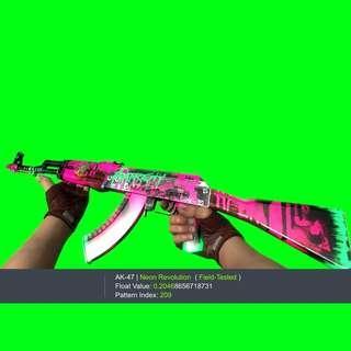 AK-47 NEON REVOLUTION FT FIELD TESTED CSGO SKIN SKINS KNIFE GLOVES GLOVE KEYS KEY AK47 AK 47