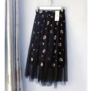 [全新未剪牌] 日本花朵圖案黑色紗裙