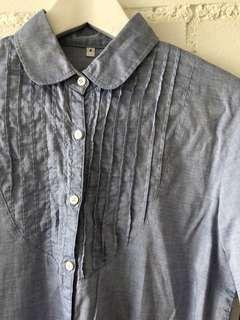 🚚 MUJI COTTON BLUE LONG SLEEVE SHIRT WITH ROUNDED COLLAR AND PLEAT FRONT DETAIL