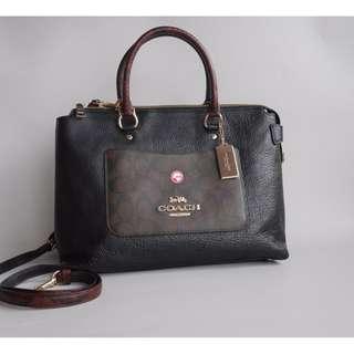Coach Signature Exotic Leather Emma Satchel Brown Black Multi