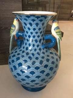 Turquoise Paradise Birds Vase