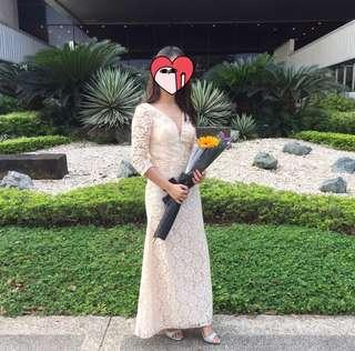 Modern Filipiniana / Champagne long gown for rent