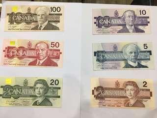 舊版加拿大幣(1986-1991)2.5.10.20.50.100五張一套