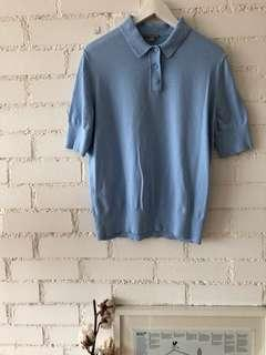 COS terry cloth women's polo shirt in light blue