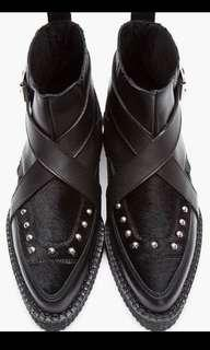 Apollo Creeper Strap Boots - black leather and pony hair