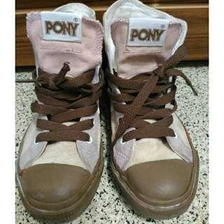 🚚 PONY 女生休閒高筒帆布鞋 粉色 EUR38 女布鞋女帆布鞋