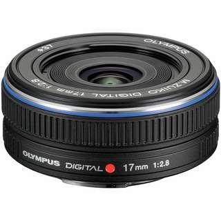 Black Olympus M.ZUIKO DIGITAL 17mm f/2.8 Lens for Micro Four Thirds System