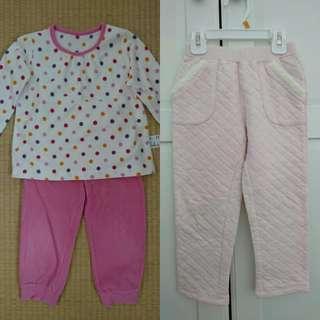 9成新 Uniqlo 100cm女童套裝+長褲=1衣2褲 合售$209