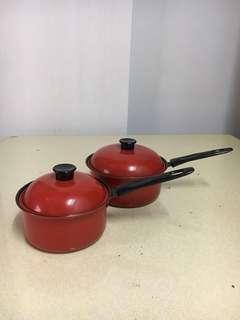 🚚 紅色單柄鍋二入(一組)