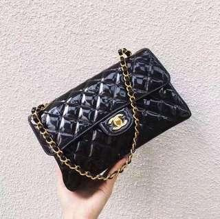 【Rare】Authentic Vintage Chanel Patent Leather Double Sided Flap Bag