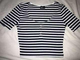 Striped Button Up Crop Top