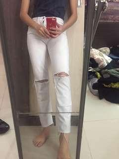 H&m White Jeans ripped