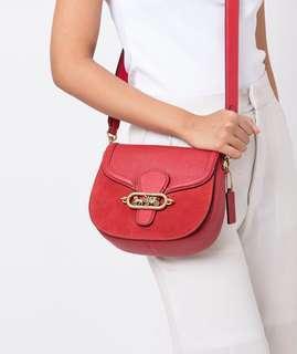 COACH Elle Leather & Suede Saddle Bag (Ruby)