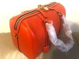 Burberry波士頓包牛皮包亮麗橘背袋手提包