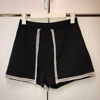 Missguided High-Waisted Shorts with Lace Detail