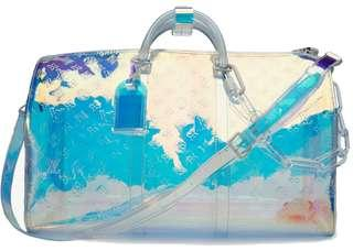Louis Vuitton x Virgil Abloh Holographic Keepall Bag Duffell Prism Clear
