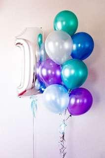Birthday balloon bouquet with foil number balloon