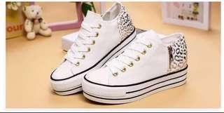 White Leopard Print Sneaker / shoes