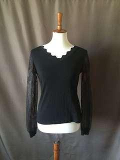 Lace sleeve black top