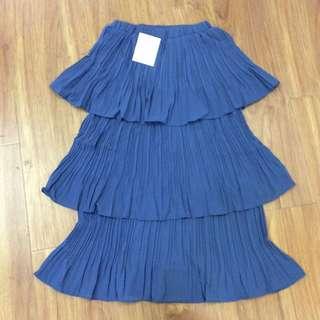 藍色三層顯瘦蛋糕裙