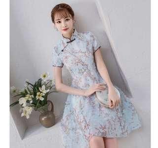 復古短款連衣裙(改良旗袍)